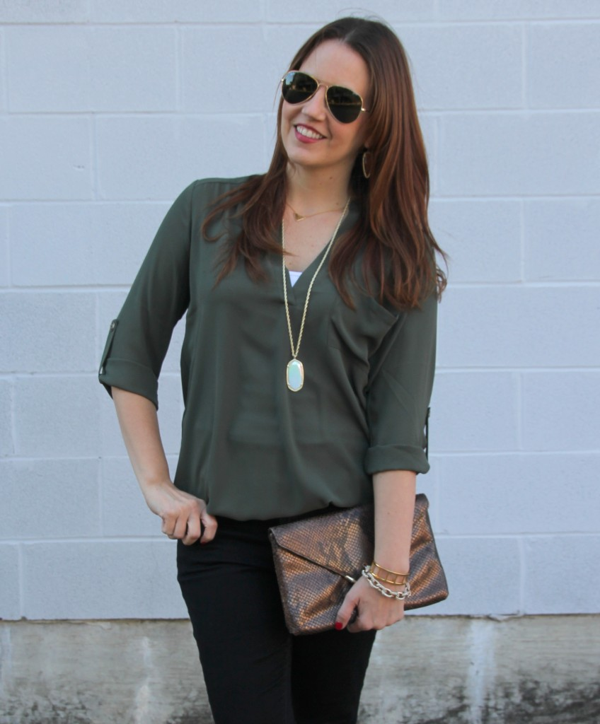 Fall Fashion - Olive Tunic and Gold Jewelry | Lady in Violet