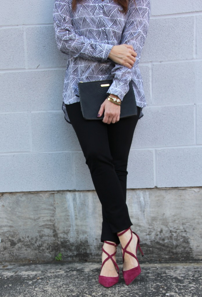 Fall Outfit- Skinny Jeans, Blouse, Burgundy Shoes