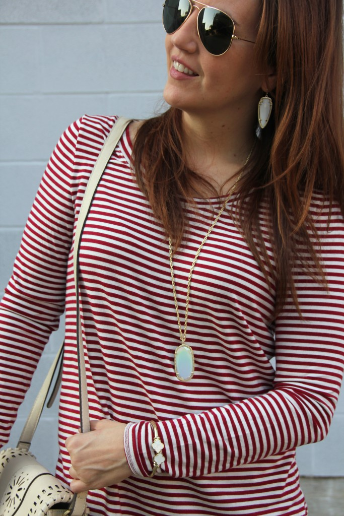 Striped Tee and Kendra Scott Jewelry | Lady in Violet