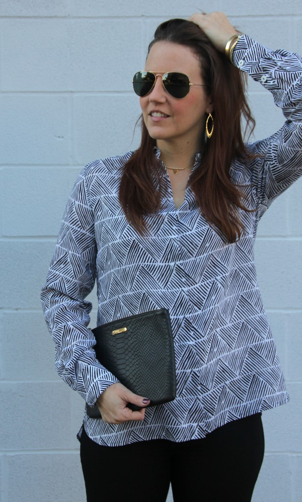 Gorjana Jewelry and Patterned Blouse | Lady in Violet