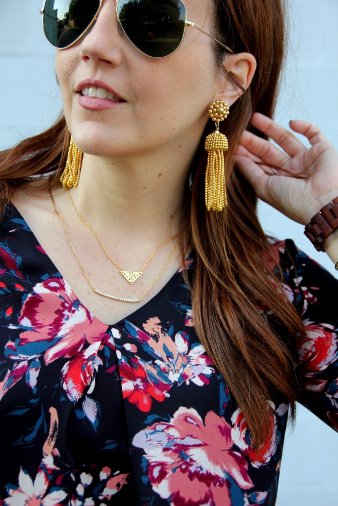 Gold Tassel Earrings and Layering Necklaces | Lady in Violet