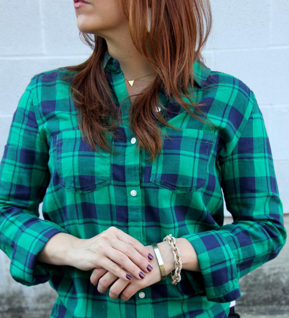 BP Plaid Shirt with Baublebar gold bracelets | Lady in Violet #baublebar