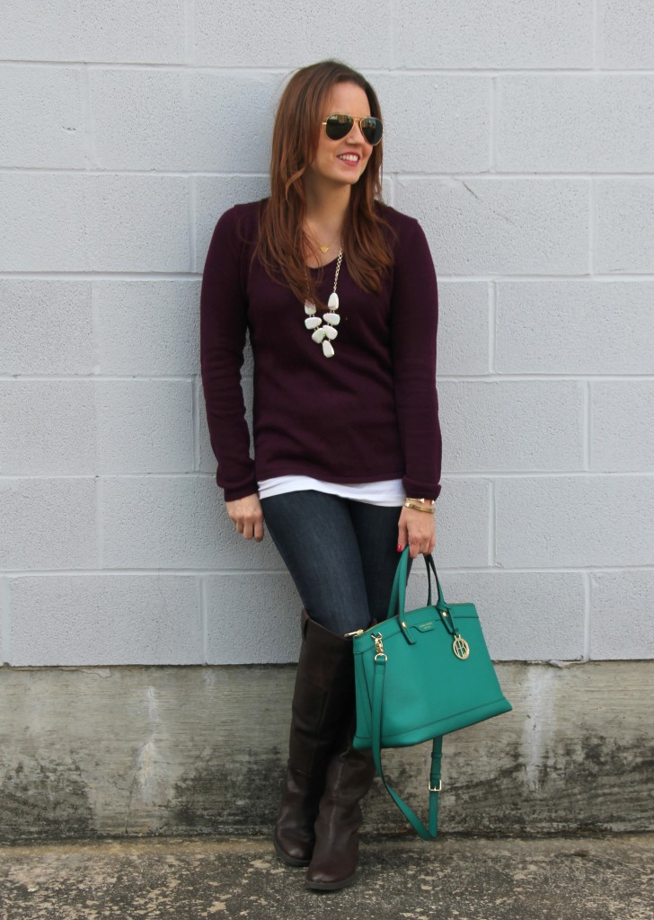 Fall Outfit Inspiration - Sweater and Riding Boots | Lady in Violet