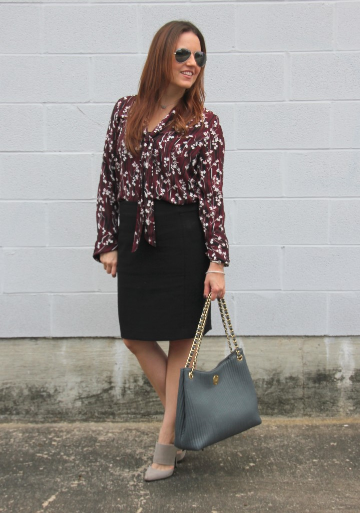 Office Style - Floral Print Blouse, Pencil Skirt   Lady in Violet