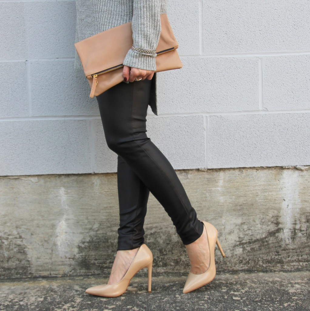 Faux Leather Leggings and Clare V Foldover Clutch | Lady in Violet