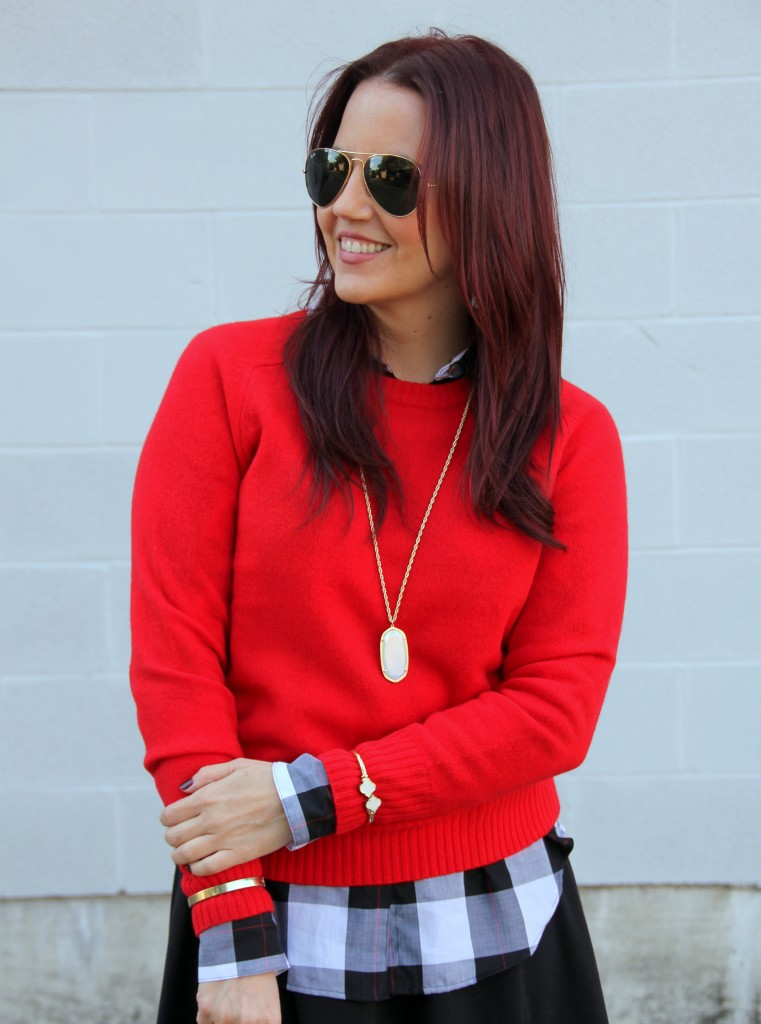 Layer a Sweater over a Plaid Blouse   Lady in Violet