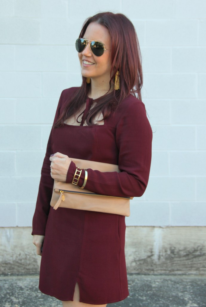 Maroon Holiday Dress and Clare V Foldover Clutch | Lady in Violet