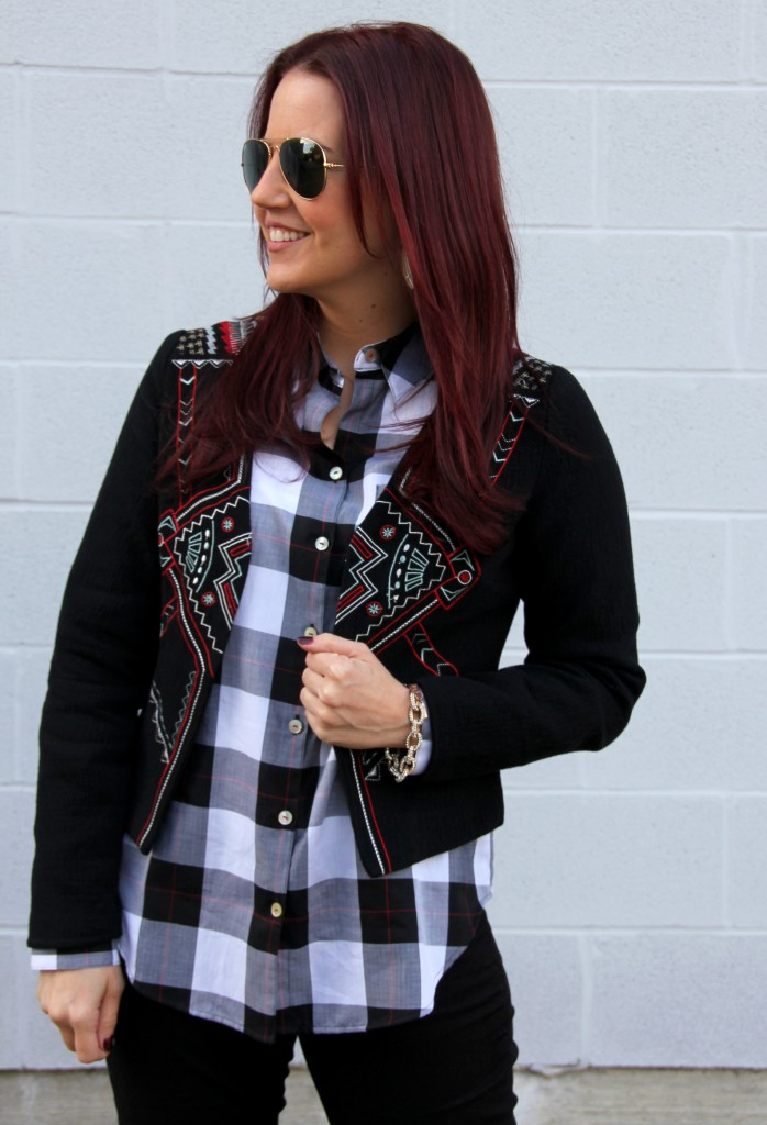 Print Mixing: Embroidery and Plaid | Lady in Violet