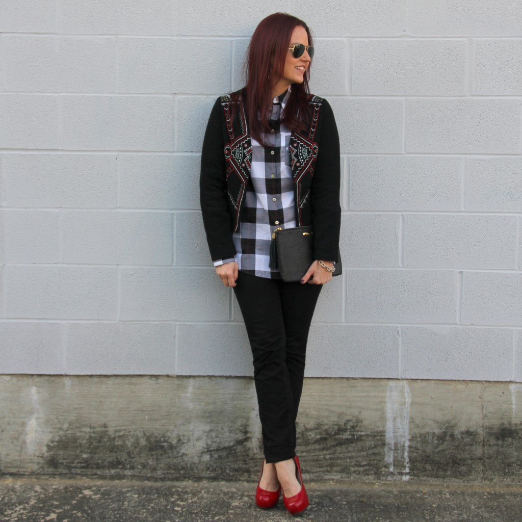 Cropped Jacket, Buffalo Check top, Skinny jeans, red pumps | Lady in Violet