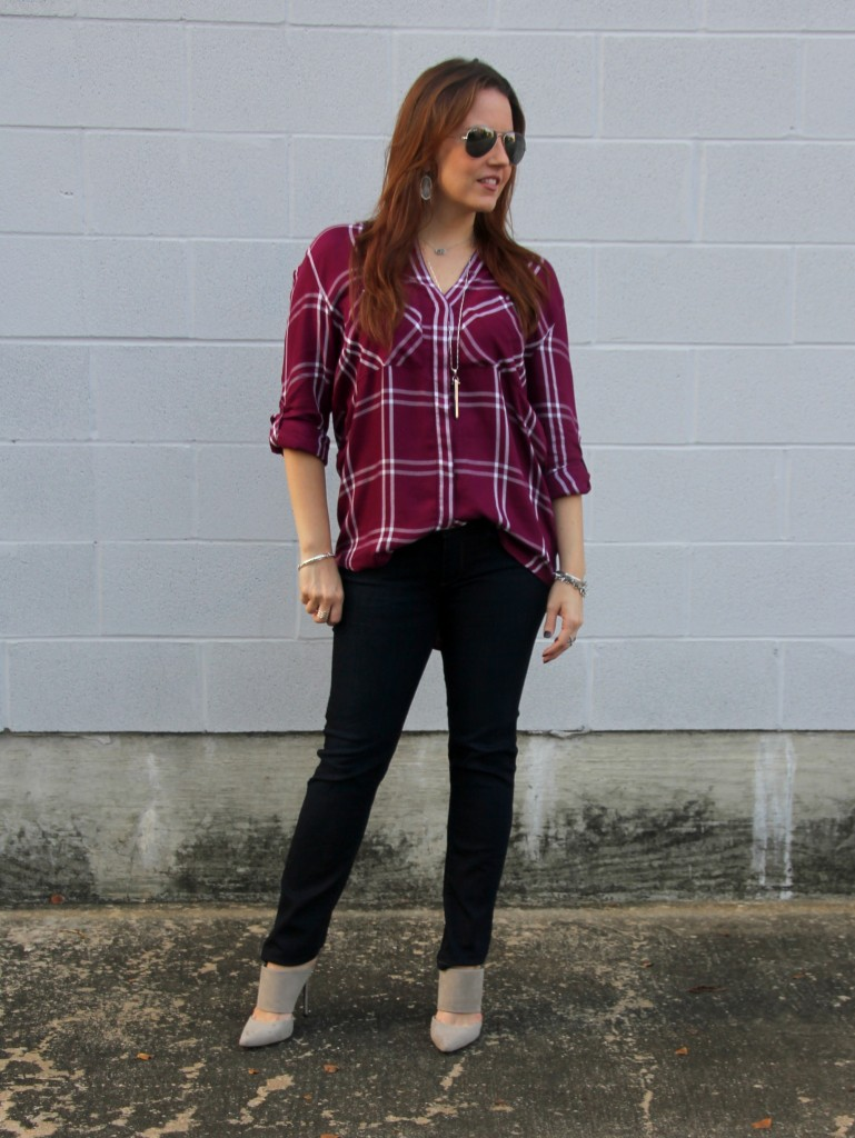 Fall Outfit Idea -Plaid and Skinny Jeans with Heels | Lady in Violet