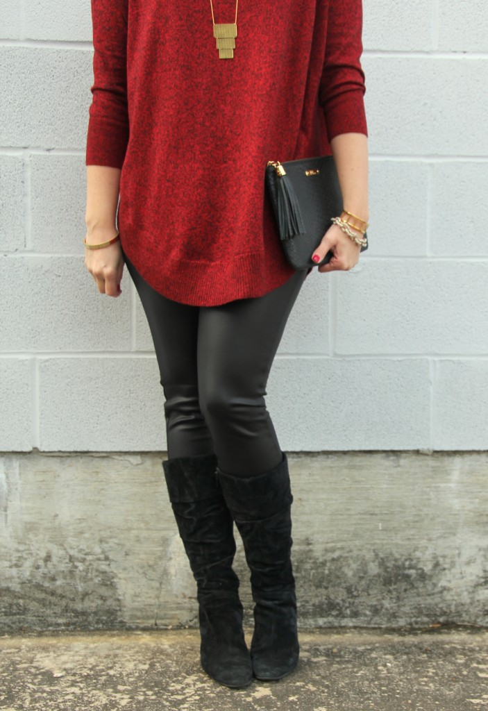 Leather Leggings and Suede Boots | Lady in Violet