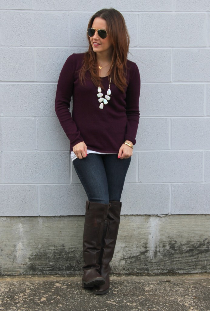 Thanksgiving Outfit Idea - Sweater and OTK Boots | Lady in Violet