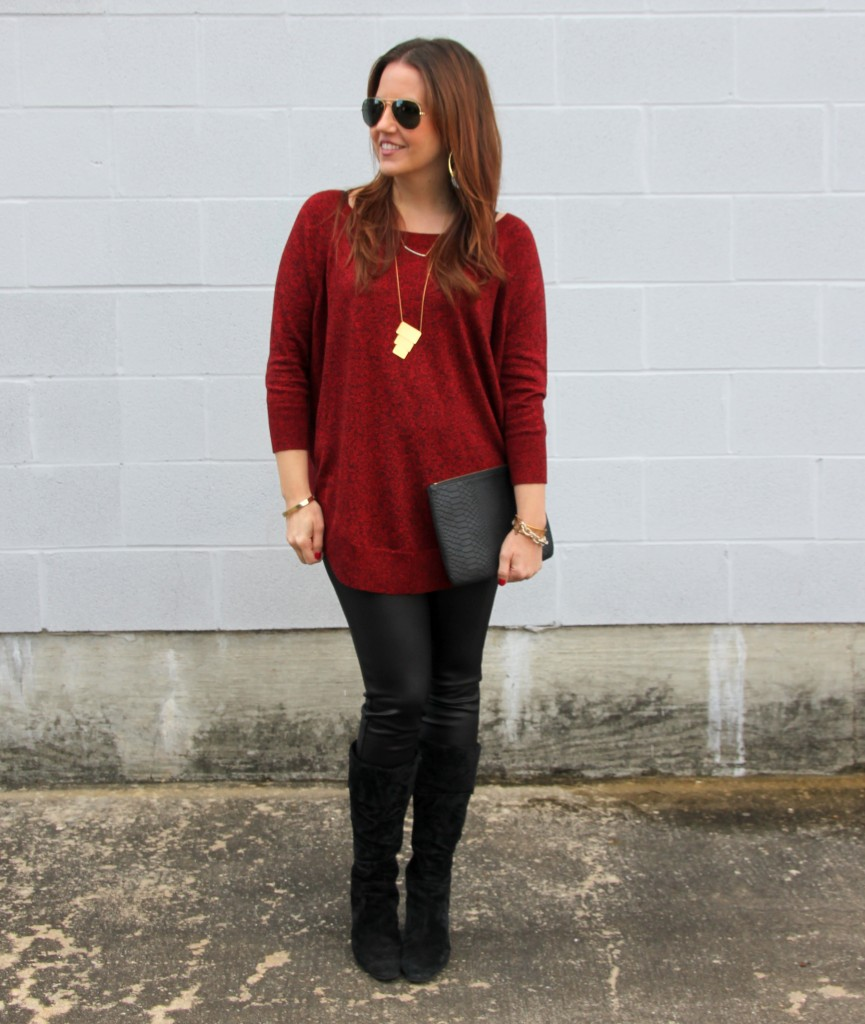 Dressy Casual Weekend Outfit - Sweater, Leggings, Boots | Lady in Violet