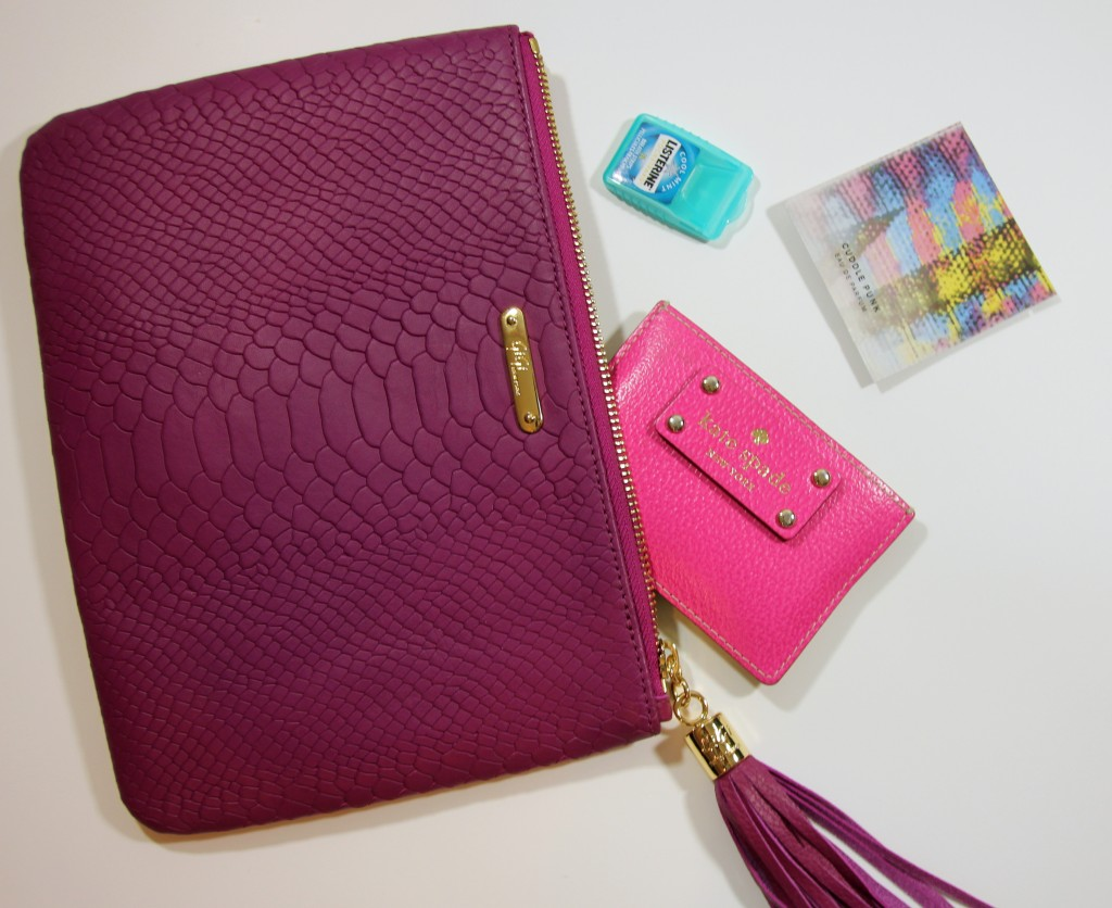 Holiday clutch must-haves - Wallet, perfume, listerine pocket packs | Lady in Violet