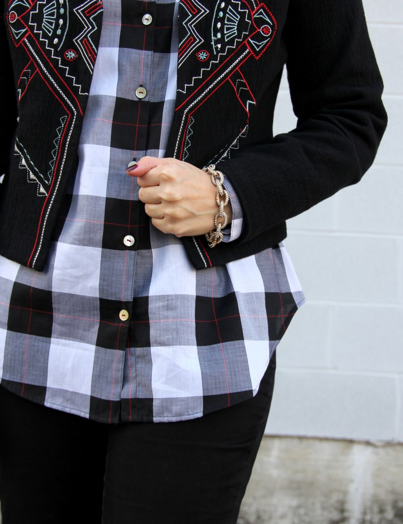 Print Mixing: Buffalo check Plaid and Embroidered Crop Jacket | Lady in Violet