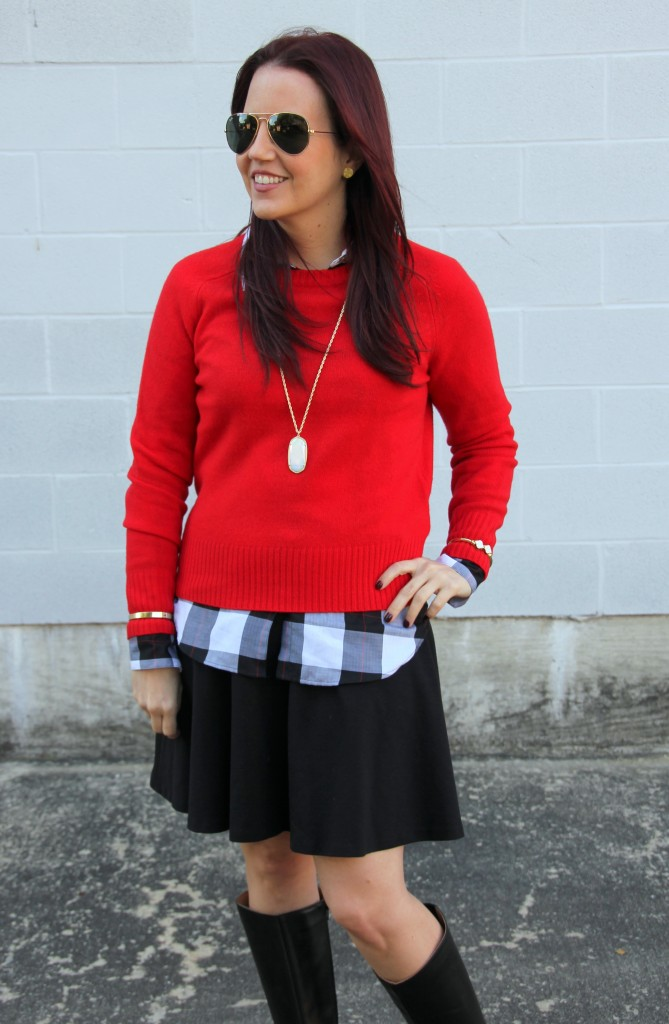 Red Sweater, Plaid Blouse, Flared Skirt | Lady in Violet
