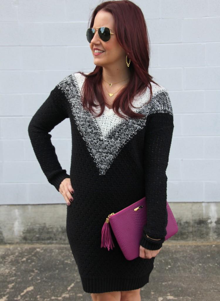 Black Sweater Dress with V-Neckline | Lady in Violet