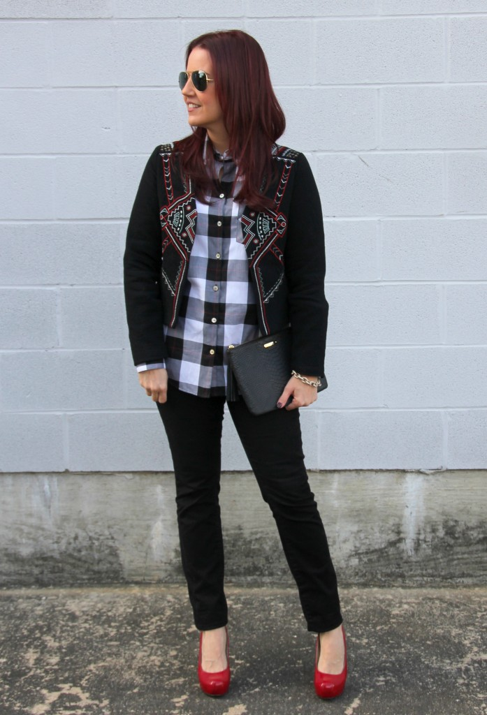Holiday Outfit Idea: Jacket and Plaid Blouse | Lady in Violet