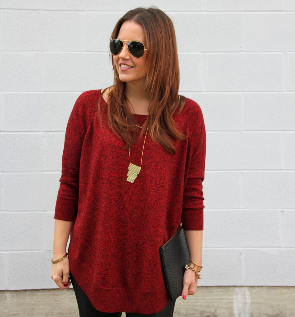 Red Tunic Sweater with Gold Jewlery By Gorjana | Lady in Violet