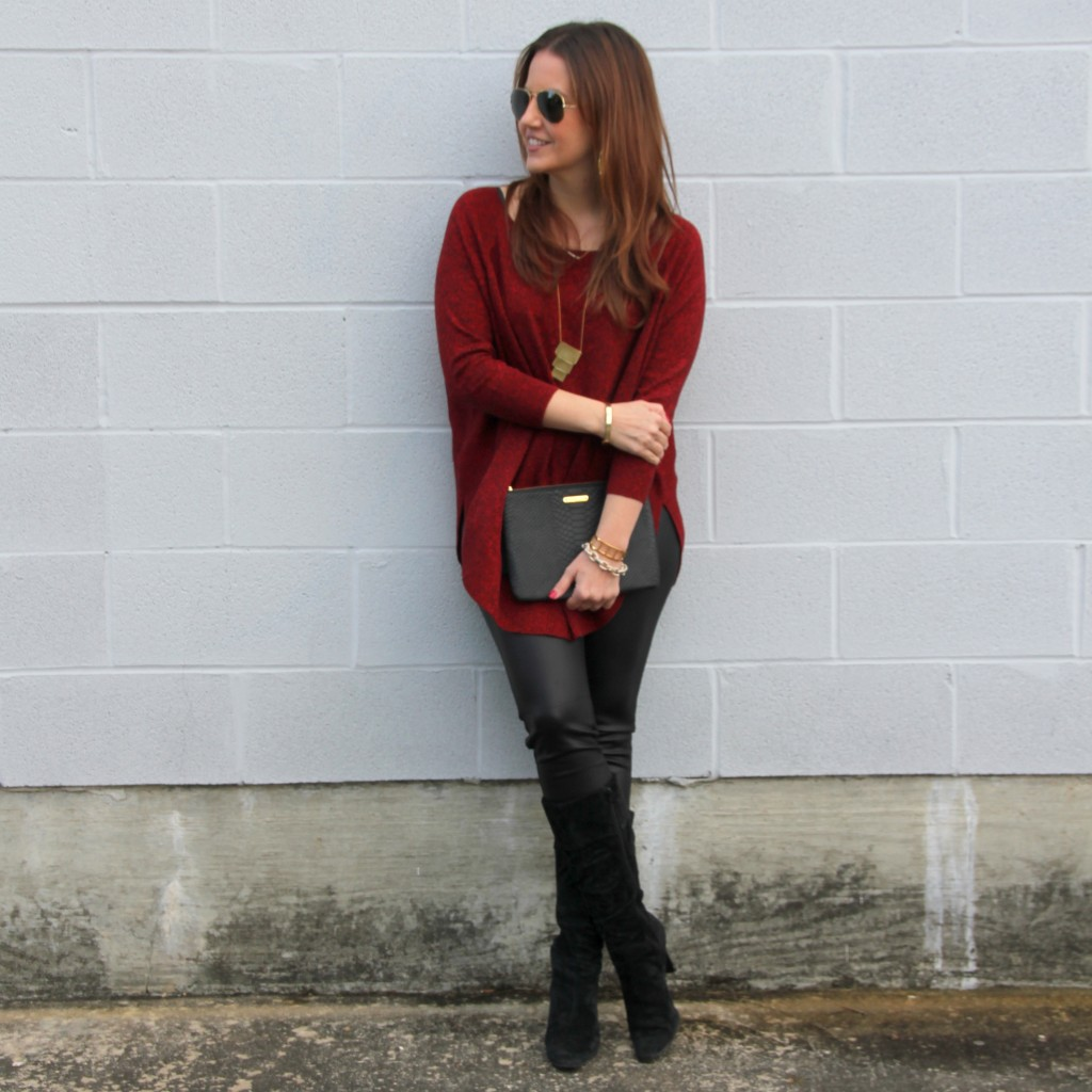 Christmas Party Outfit Idea - Red Sweater and Leather Leggings | Lady in Violet