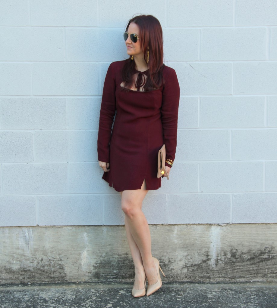 Christmas Party Outfit - Burgundy Holiday Dress | Lady in Violet