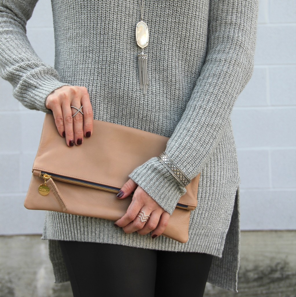 Clare V Foldover Clutch and Gray Sweater | Lady in Violet