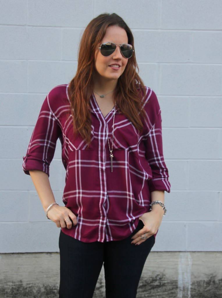 Express Windowpane Plaid Top | Lady in Violet