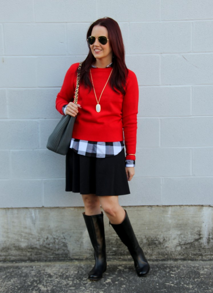Fall Outfit Idea - Layers and Skirt   Lady in Violet