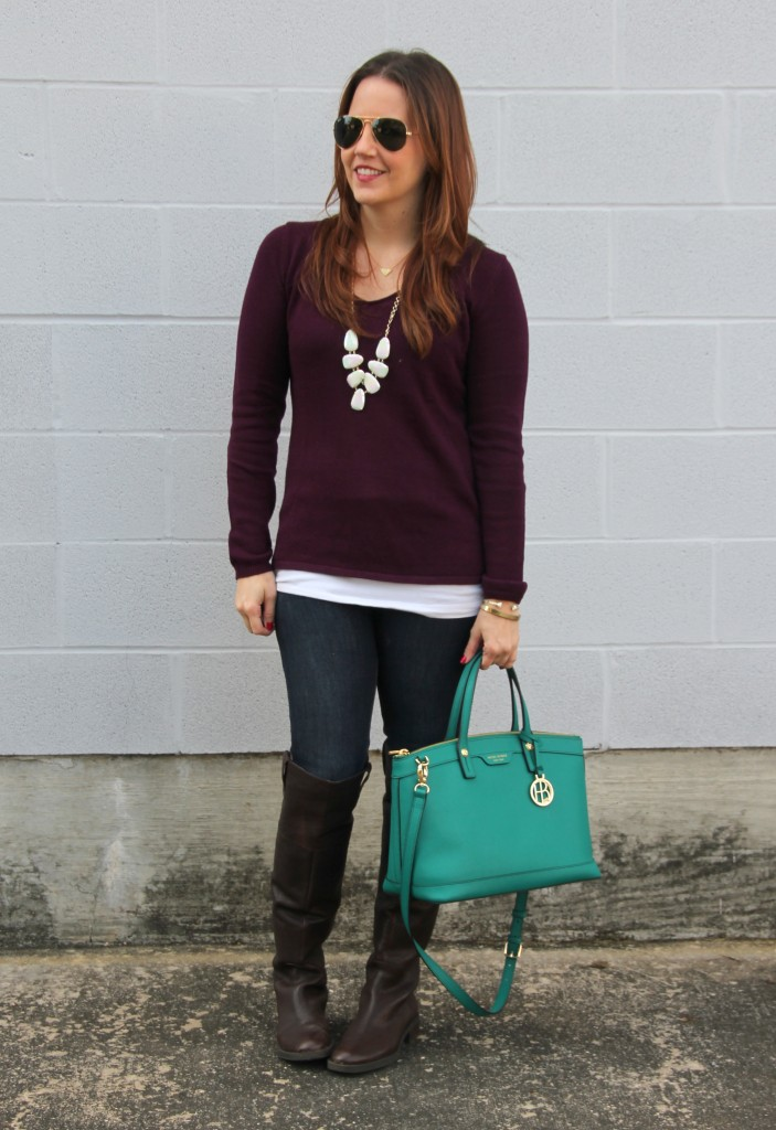 Fall Outfit Idea - Purple Sweater, Jeans, Boots | Lady in Violet