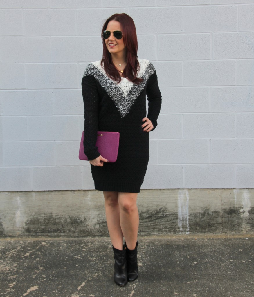 Fall Outfit Idea - Sweater dress and booties | Lady in Violet