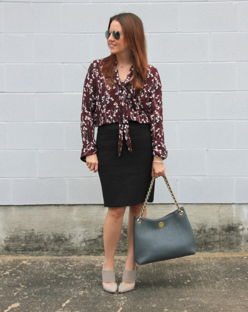 Work Outfit - Pencil Skirt and Floral Print Blouse   Lady in Violet