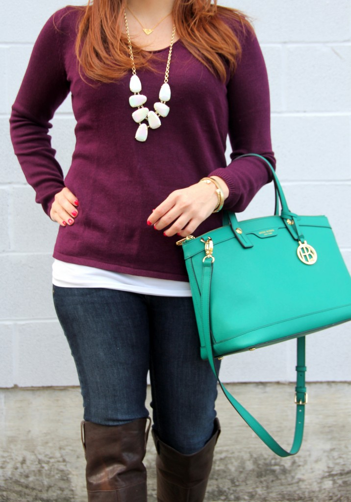Henri Bendel Satchel and Kendra Scott Necklace | Lady in Violet
