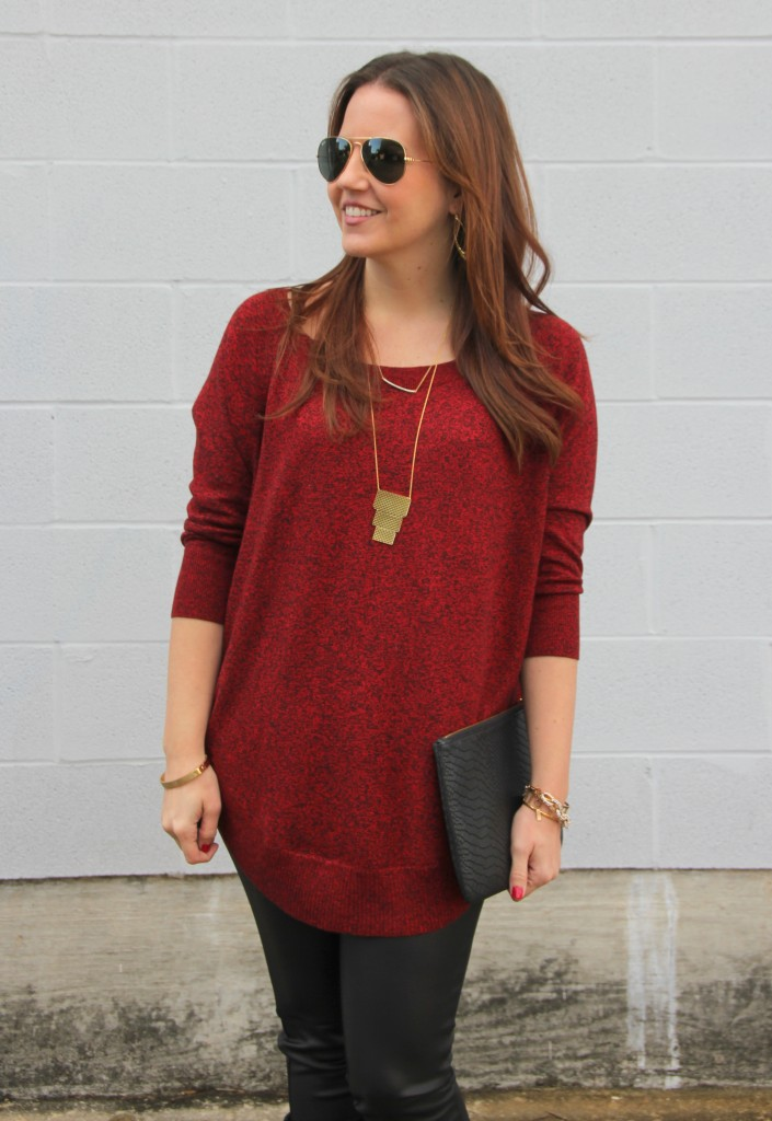 Long Red Sweater and Gorjana Mia Necklace | Lady in Violet