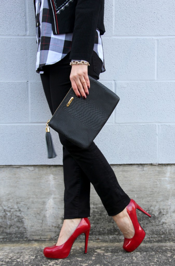 Red high heels and Gigi NY clutch | Lady in Violet