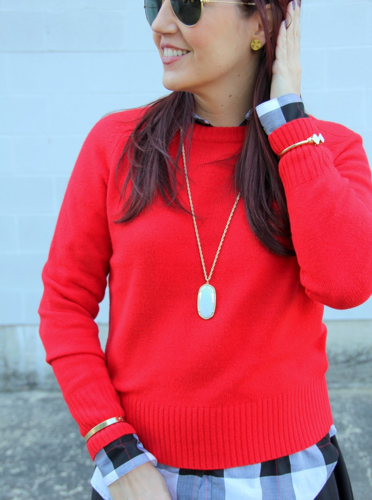 Red Sweater and Kendra Scott Necklace | Lady in Violet