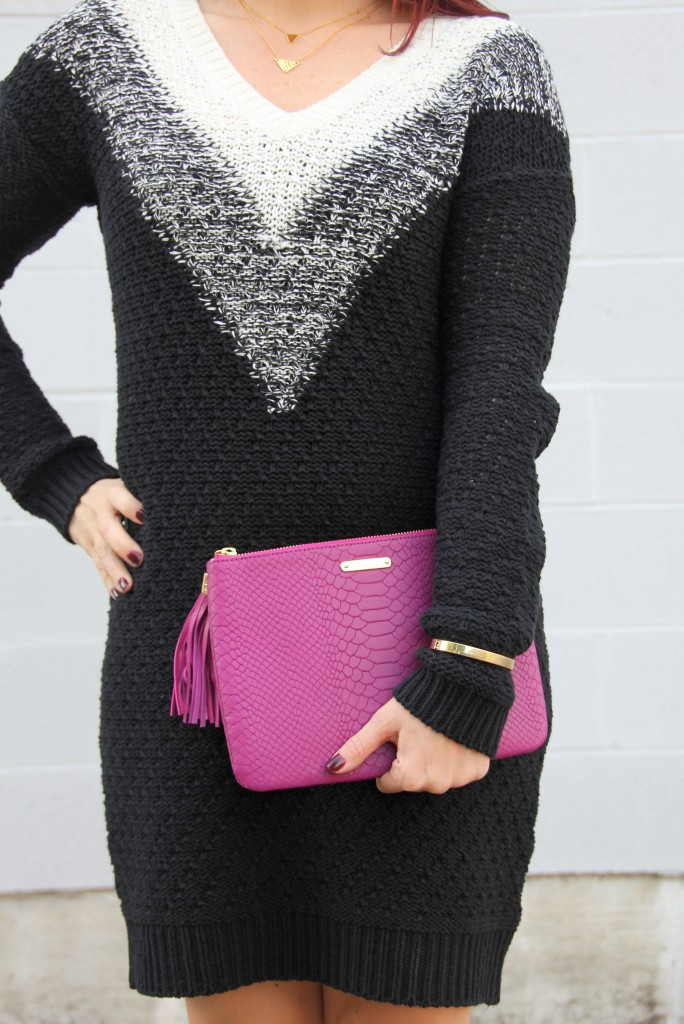 BP Sweater Dress at Nordstrom, Gigi NY Clutch | Lady in Violet