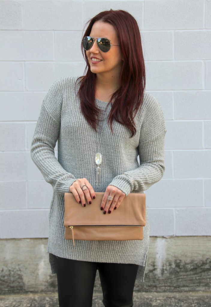 Gray Sweater and Silver Jewelry | Lady in Violet
