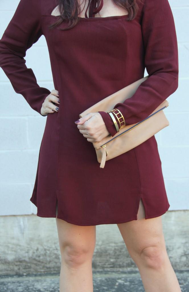 Maroon Holiday Dress, Clutch, Baublebar Bracelets | Lady in Violet