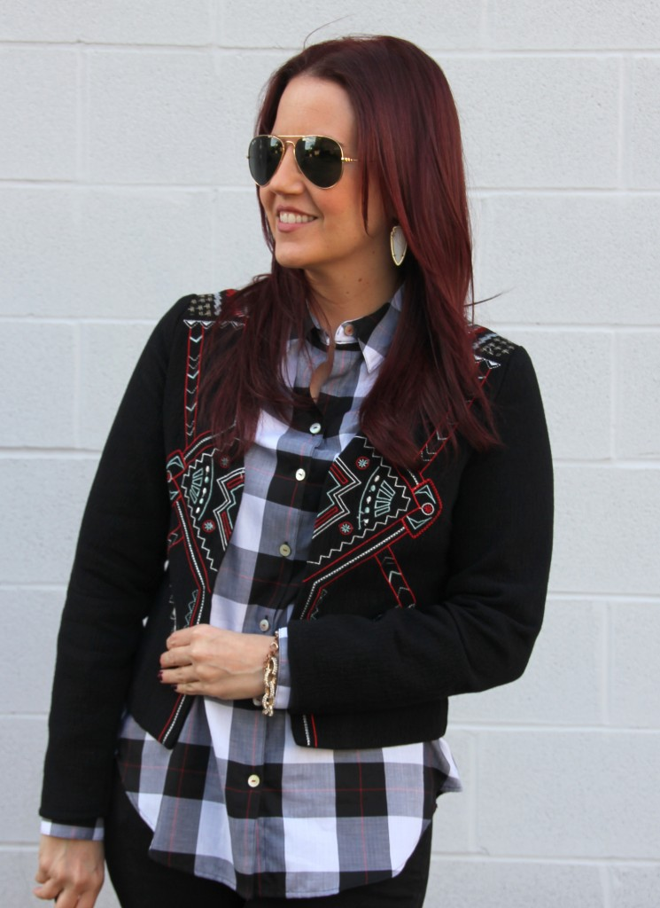 Print Mixing: Plaid and Embroidery | Lady in Violet