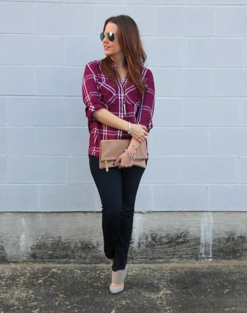 Thanksgiving Outfit Idea - Plaid and Heels | Lady in Violet