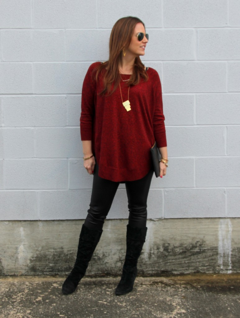 Winter Outfit Idea - Leather Leggings and Red Sweater | Lady in Violet