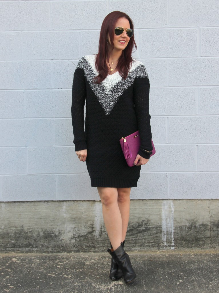 Winter Outfit Idea - Sweater dress and booties   Lady in Violet