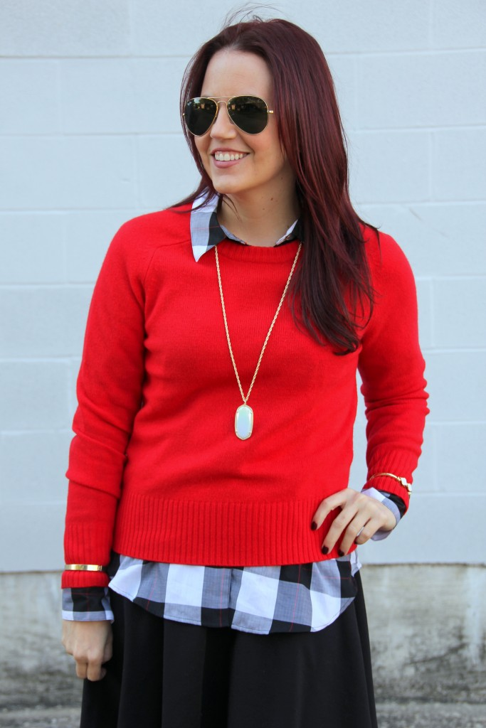 Red Sweater Layered with plaid top | Lady in Violet