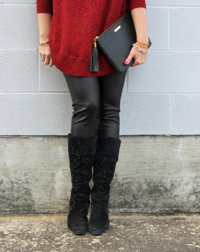 Faux Leather Leggings and Suede Boots | Lady in Violet