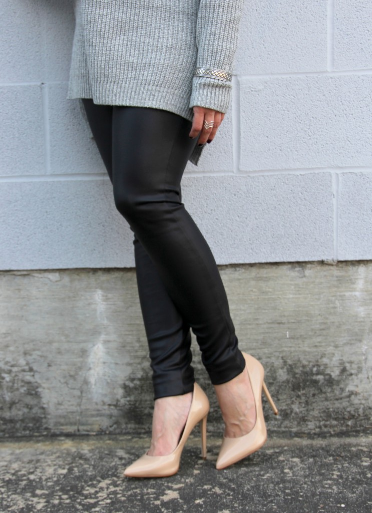 Leather Leggings and Nude Heels | Lady in Violet