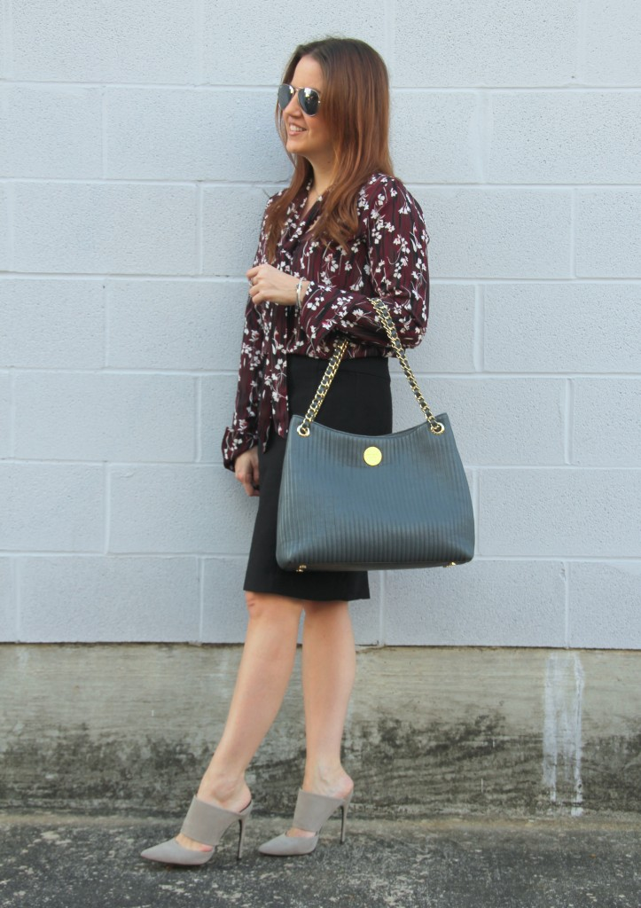 Office Style - Pencil Skirt, TieNeck Blouse, Mules   Lady in Violet