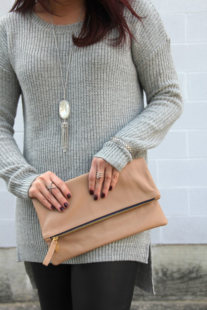 Pullover Gray Sweater and Clare V Foldover Clutch