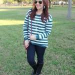 Teal Striped Sweater