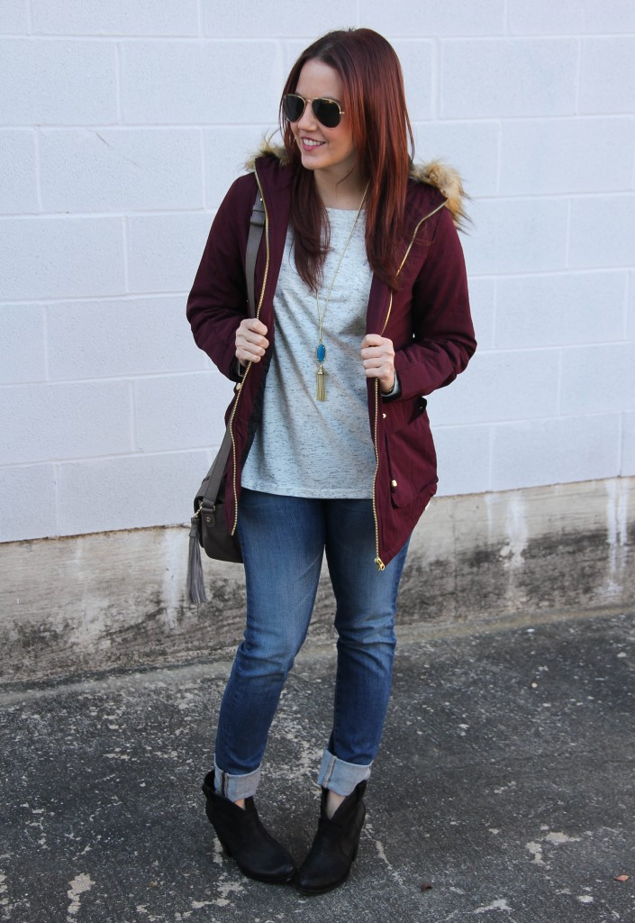 Winter Casual Outfit Idea - Jeans, Tee, Coat | Lady in Violet