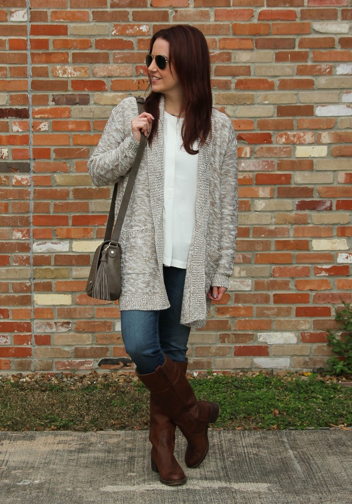 Winter Fashion - Long Cardigan and Riding Boots | Lady in Violet